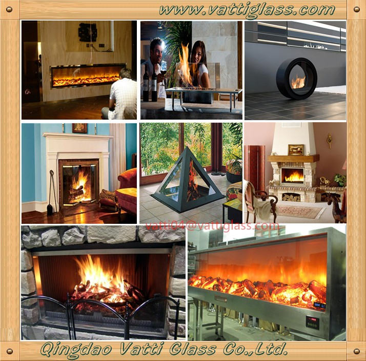 Fire place free standing indoor fireplace fire glass plate