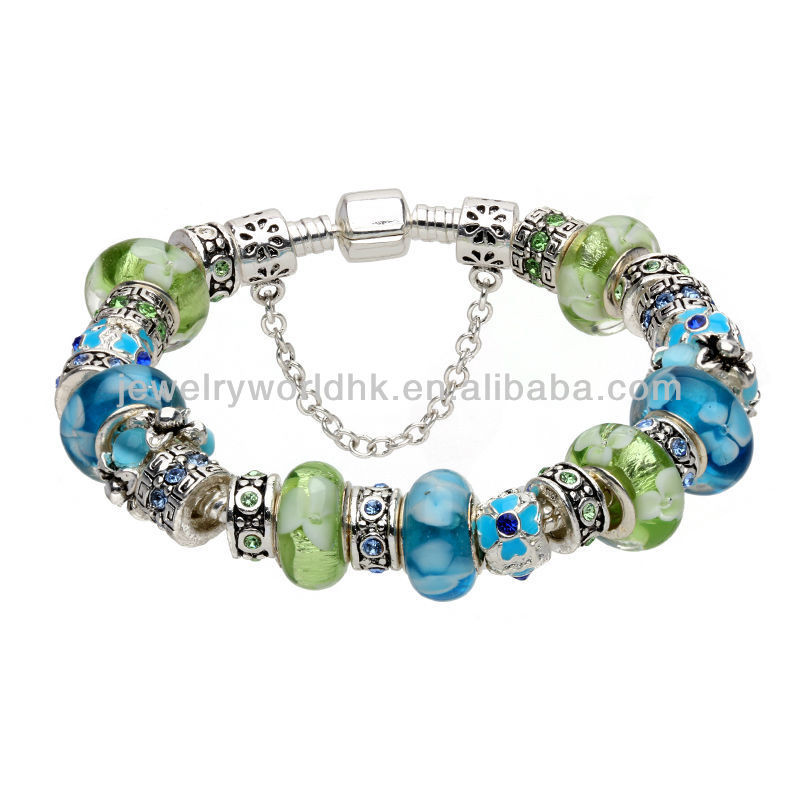 Fashion lady charm bracelet! Wholesale blue and green fashion lady charm bracelet