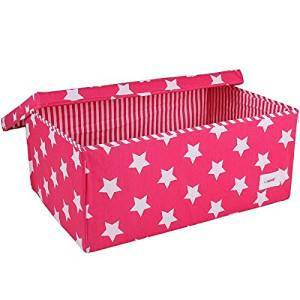 Minene Small Fabric Storage Basket Organiser with Handles Pink Star
