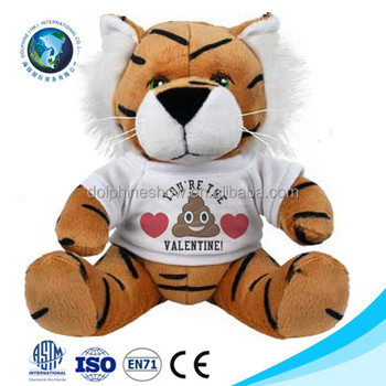 2017 Promotion gift costom printed LOGO plush tiger with t shirts Fashion cute kids toy stuffed soft plush tiger toy