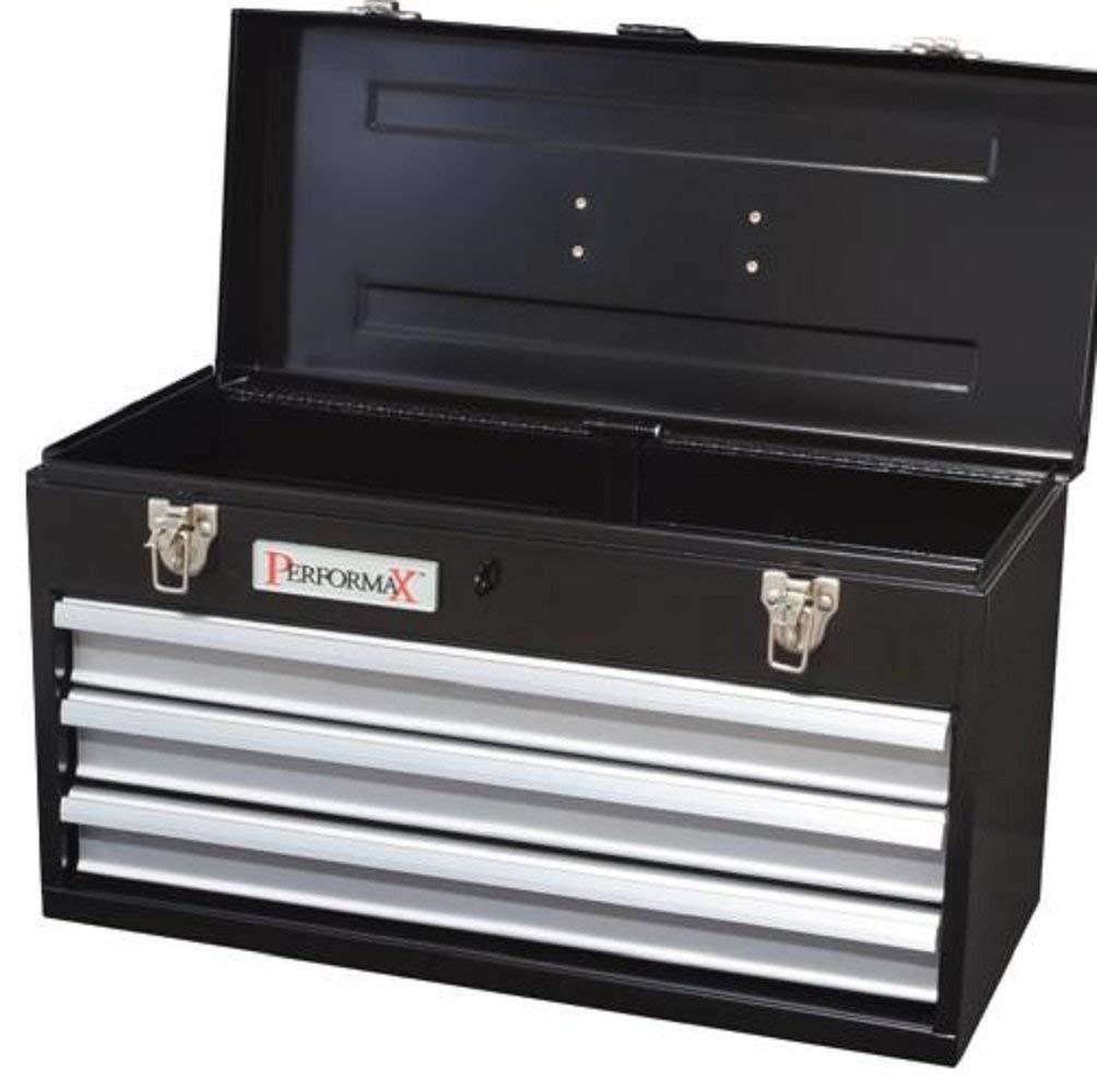 "Performax Black 3-Drawer Heavy-Duty Metal Tool Box - Full-Length Drawer Pulls - 972 cubic inch storage space - 20.5""W x 8.80""H x 12.70""D"