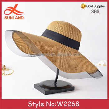 W2268 negara mode chic topi jerami dengan tartan kotak-kotak pita gaya  wanita matahari jerami 4237cfd8fa