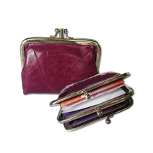 Retro Nostalgic ladies' leather coin purse,coin purse with metal clutch