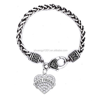 Best Friends Forever Bangle Bracelet Whole Metal Charms Friendship Bracelets For