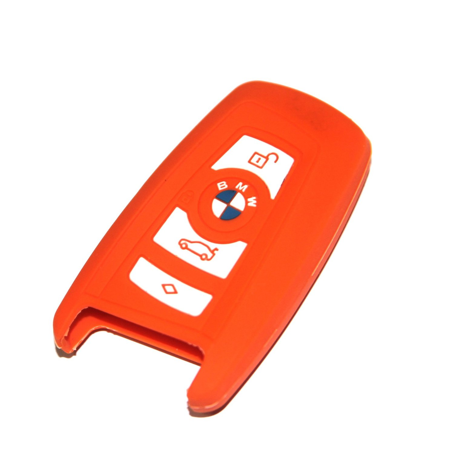 BMW Key Cover Orange Silicone Keyless Remote Control Protecting Case Smart Key Holder Fob for BMW 1 3 5 6 7 Series (Single Pack)