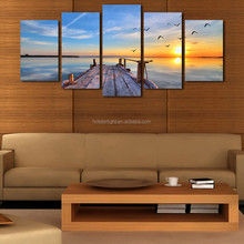 Sunset Landscape Canvas Painting On The Wall Pictures For Living Room Top-rated Cuadros Decor 5P Modular Picture Painting