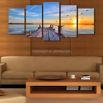 Sunset Landscape Kanvas Lukisan Di Dinding Untuk Ruang Tamu Cuadros Dekorasi Nilai Tertinggi 5 P Modular