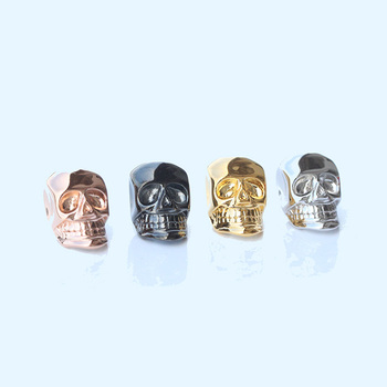 Miss Jewelry Supply Wholesale Charm Custom Metal Beads, 14K Gold 925 Sterling Silver Skull Bead