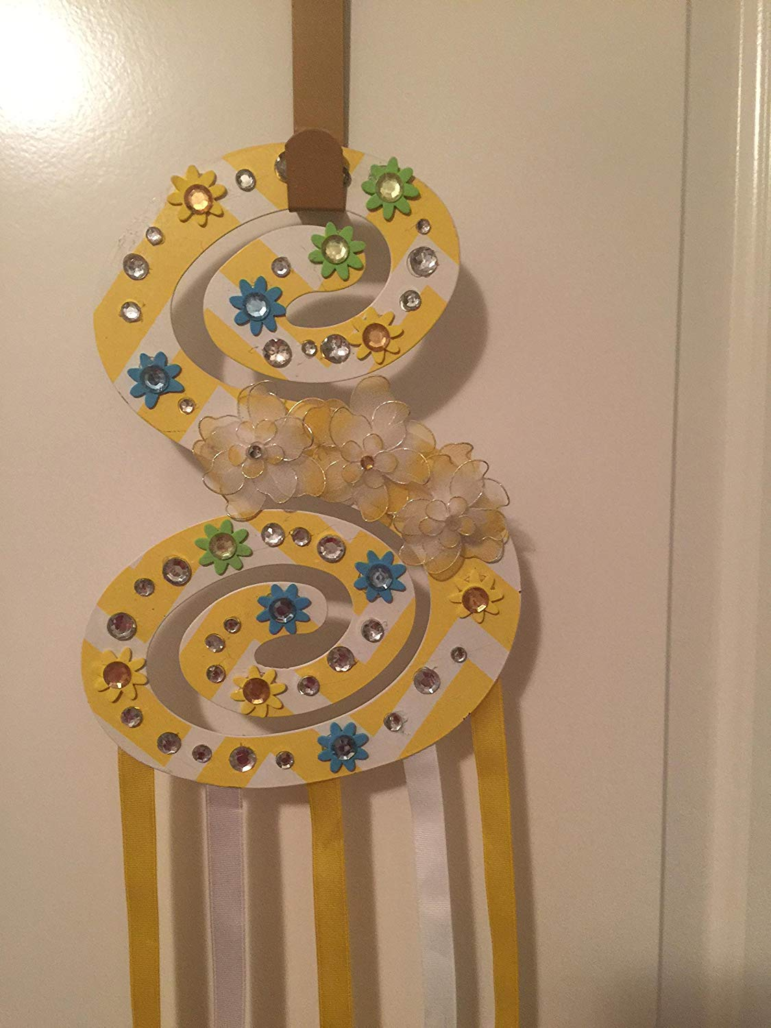 Get Quotations · BLING Sparkling Initial S Hair Bow Holder/Jewelry Ear Ring  Holder/Door Accessory Rhinestone