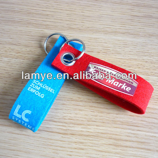 Non-Toxic Felt Fabric Keyring with silk screen printing for promotion gift