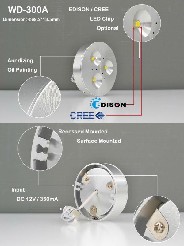 Quality Shenzhen Round 3w 3000k Led Lights 12v Jewelry / Motorhome ...