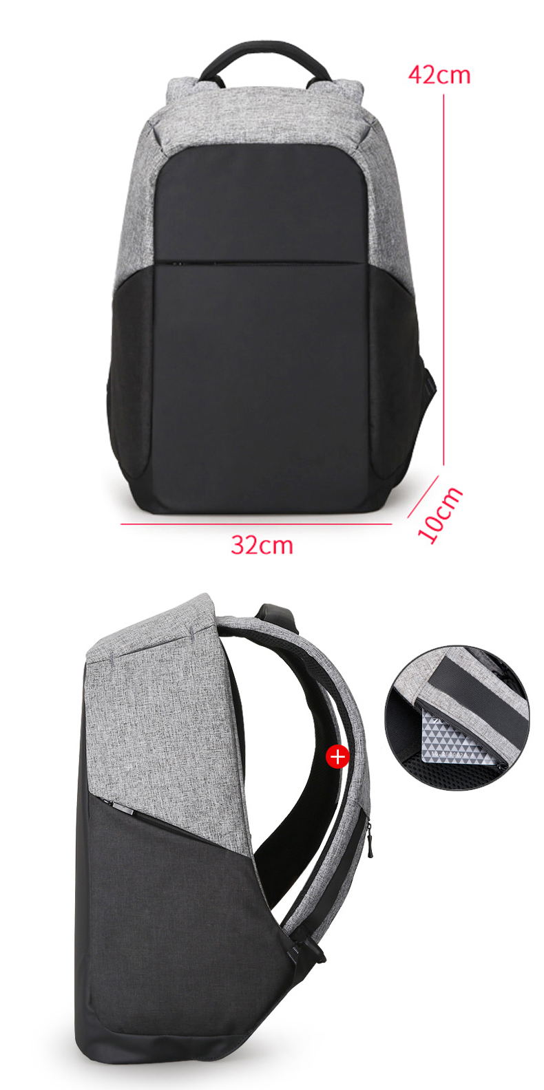 Water proof anti-theft anti thief security business smart laptop backpack rucksack bagpack back pack bag with USB Charging port