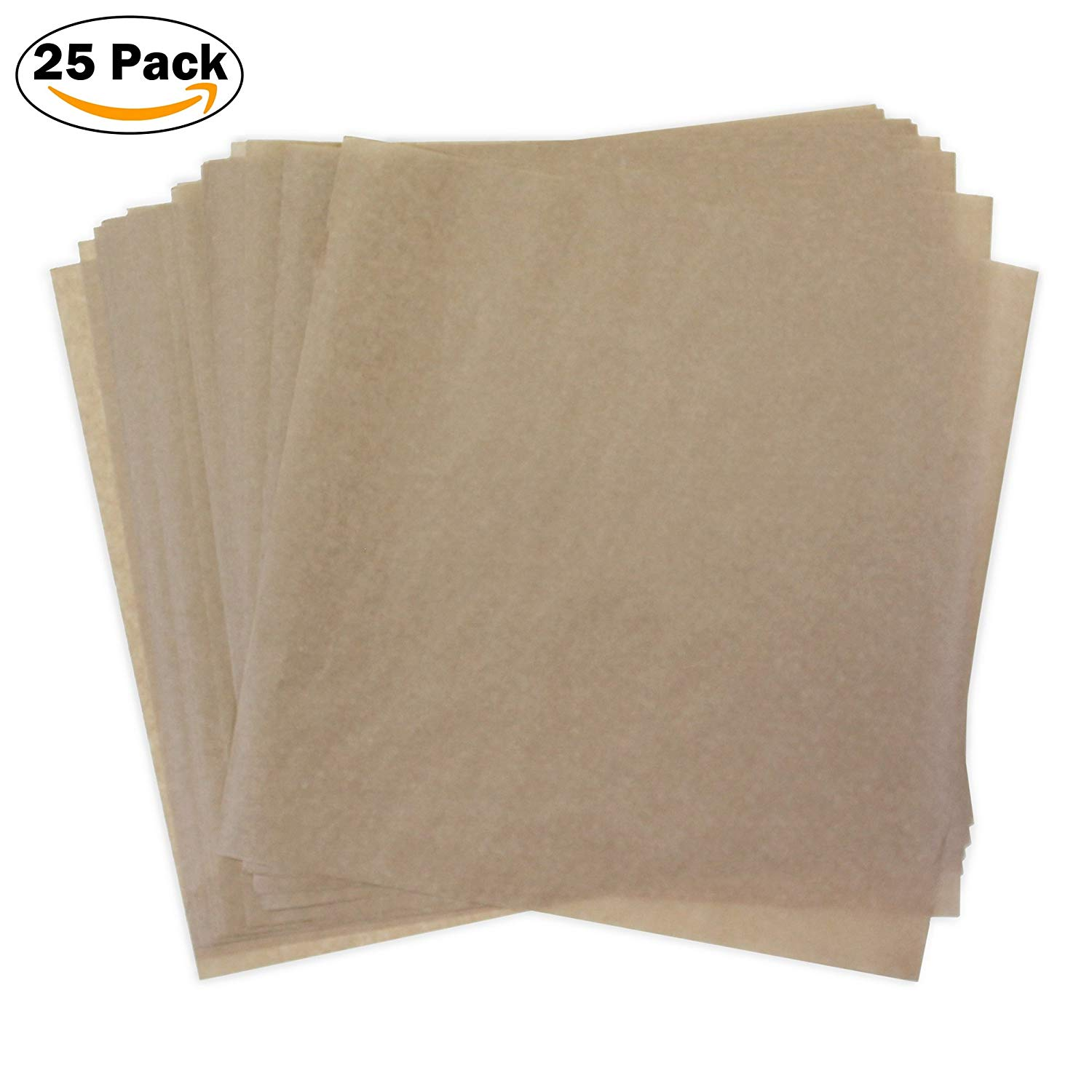 Kraft Dry Wax Paper Deli Wrap and Basket Liner (Natural Brown Kraft 12x12, pack of 25)