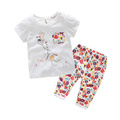 Retail 2016 bay girls clothing girls summer outfits O neck print Pullover outfits shorts and flower