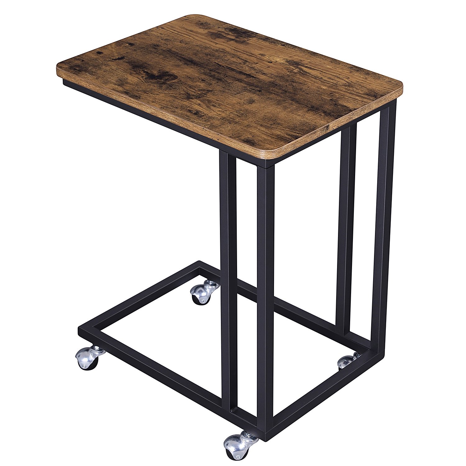 VASAGLE living Room Furniture Small Metal wooden Bed Side <strong>Table</strong> with Wheels