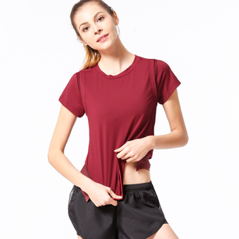 fitness & yoga wear Loose Style Solid Color Round Neck Short Sleeve Nylon Spandex Casual T Shirt Women