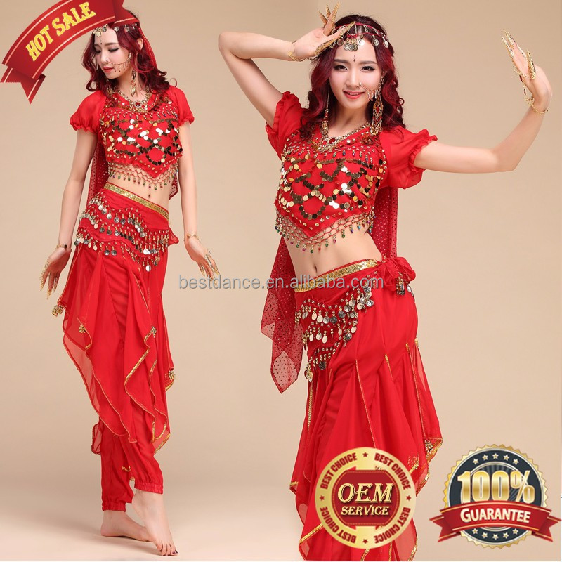 BestDance Belly Dance Costume Set Bell pepper Top&Gold Wavy Pants&Hip Scarf&veil