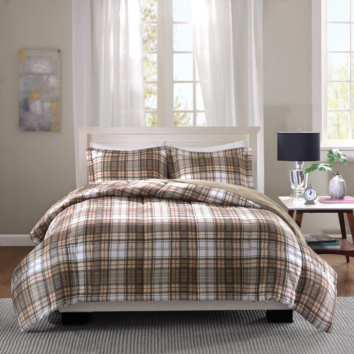 Get Quotations Ca 2 Piece White Red Tan Brown Buffalo Checked Comforter Twin Xl Set