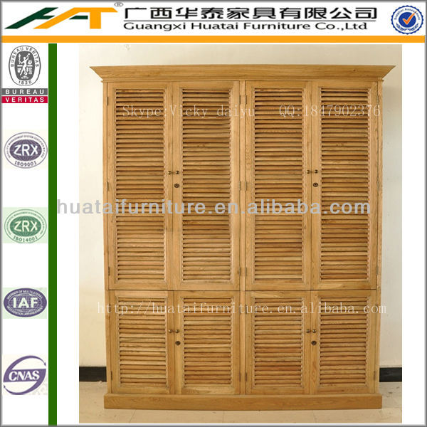 Shutter Double Armoire Wardrobe Furniture Oak Solid Wood High Quality