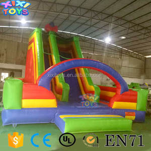 green yellow red inflatable slide for kids, inflatable slide for school carnival