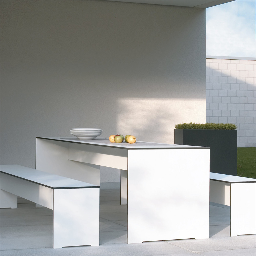 Formica hpl laminate sheets white color outdoor table top and bench