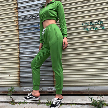 2019 High Quality Fashion Half Zip Hoodies Full Length Pants Green 2 Pieces Women Casual Sets
