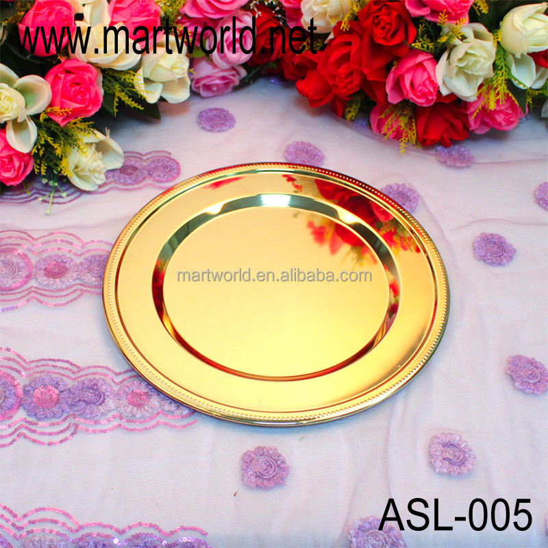 High quality golden & silver metal circle plate for wedding decoration,party,home&hotel decoration(ALS-005)