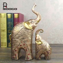 ROOGO resin crafts mother and child elephant gold color home decor trends