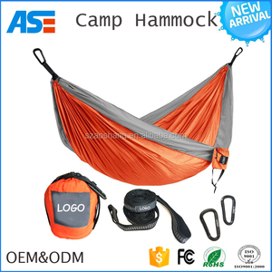 2017 Camping,Beach Portable Parachute nylon Travel 2 person double hammock with aluminum carabiners hammock tent