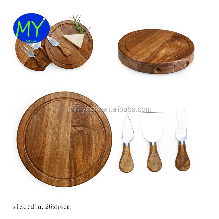 Round Slide Out Acacia Wood Amp Slate Cheese Serving Board