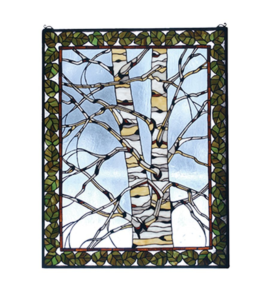 "Meyda Hand Crafted Designed Art Decorative Panel 28""W X 36""H Birch Tree In Winter Stained Glass Window"