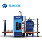 CGPS-1600P China suppliers vertical 4 guns PLC control building glass automatic glass sand blasting machine