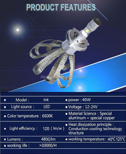 40W 4800LM H4 car head lamp and lights/ car accessories LED bulb headlight Waterproof 6500K