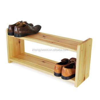 High Quality Pine Wood 2 Tier E Saver Shoe Rack Storage Entry Organizer Solid Antique