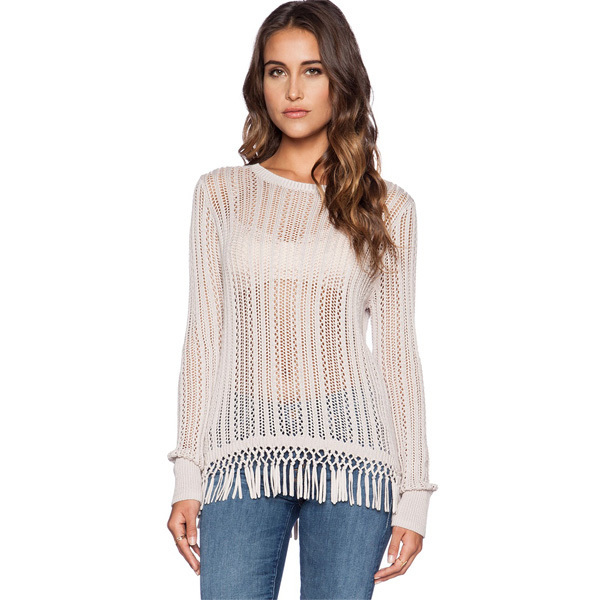 Get Quotations · Top Sexy See Through Loose Knitted Sweater Women s Clothes  Casual Pullover Oversized Sweaters Long Sleeve Tassel 6b93ebd50