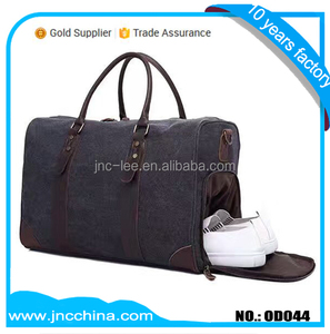 Canvas Leather Luggage Travel Duffel bag with shoes and laptop compartment