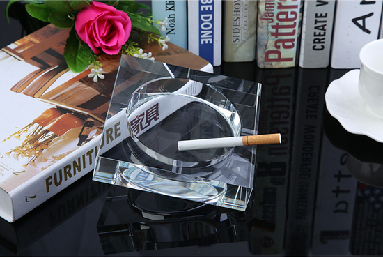 Custom Printing Crystal Square Glass Cigar Ashtray