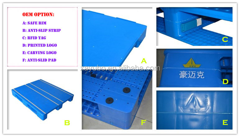 HDPE strong hygienic open deck plastic pallet for rack storage