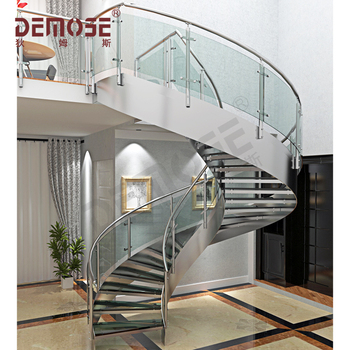 Prefab Interior Stainless Steel Round Stairs With Gl Tread