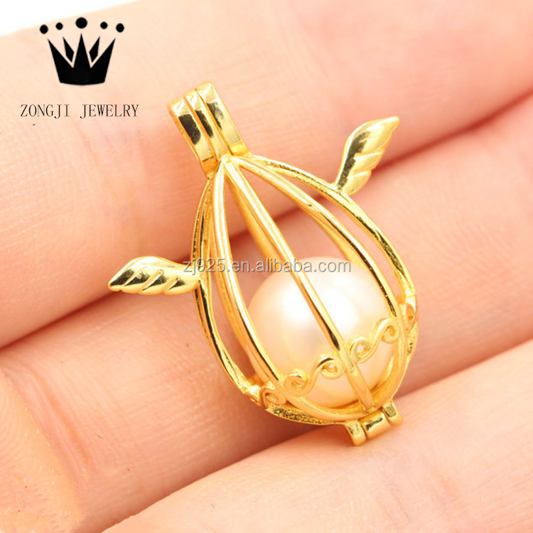 2017 Hot Sale 925 Sterling Silver Bird Cage Pendants With Freshwater Pearls