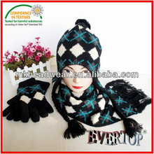 100% acrylic knitted Jacquard Knitted , knitted Pattern Hat,Scarf & Gloves Sets