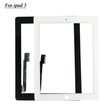 20/pcs Tested Touch Screen Glass Digitizer Assembly for iPad 3 4 touch panel + 3M Adhesive Sticker Free Ship 18