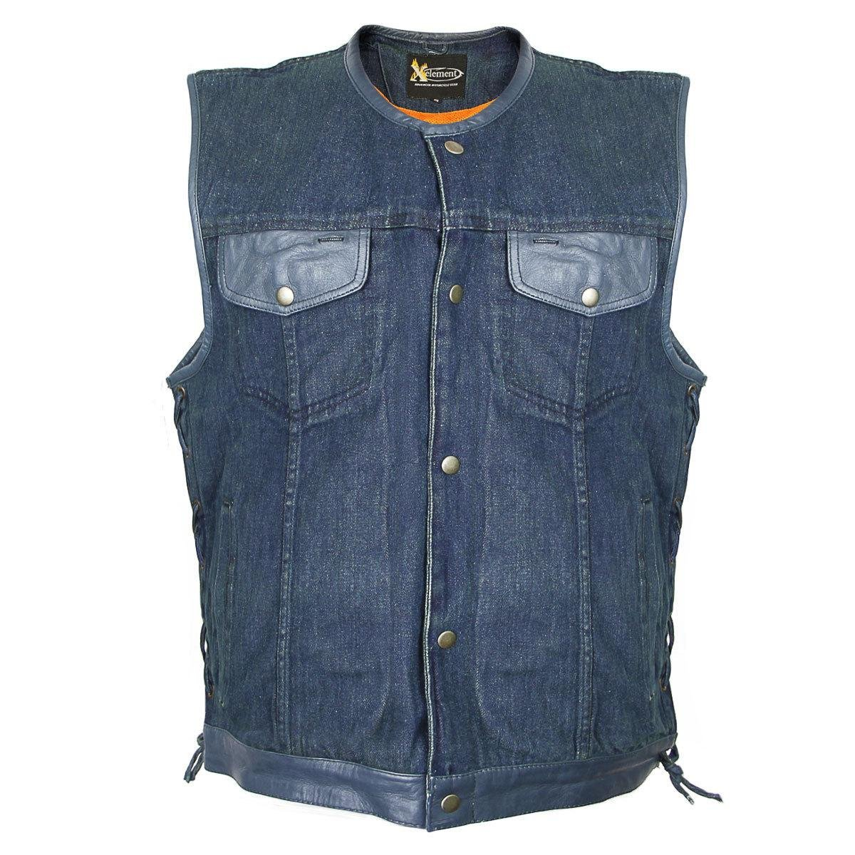 Xelement Mens Blue Denim Lace Gun Pocket Vest - Medium
