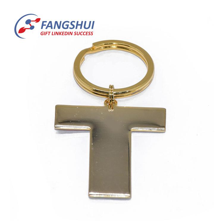 Souvenir zinc alloy metal sticker epoxy alphabet letters t design key chain