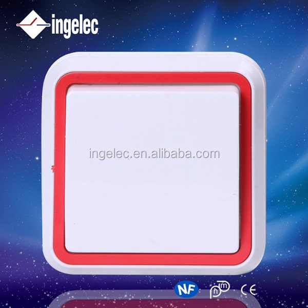Yiwu jinmin Ingelec ABS/PC Material White/red Color 1 gang 1/2 way 5A 2500V Z wave Wall Switch