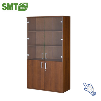Modern Library Mdf Wood Bookcase With Glass Doors Furniture Buy