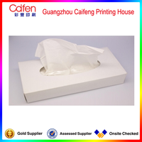 Cheap price simple pure white facial tissue paper packaging box