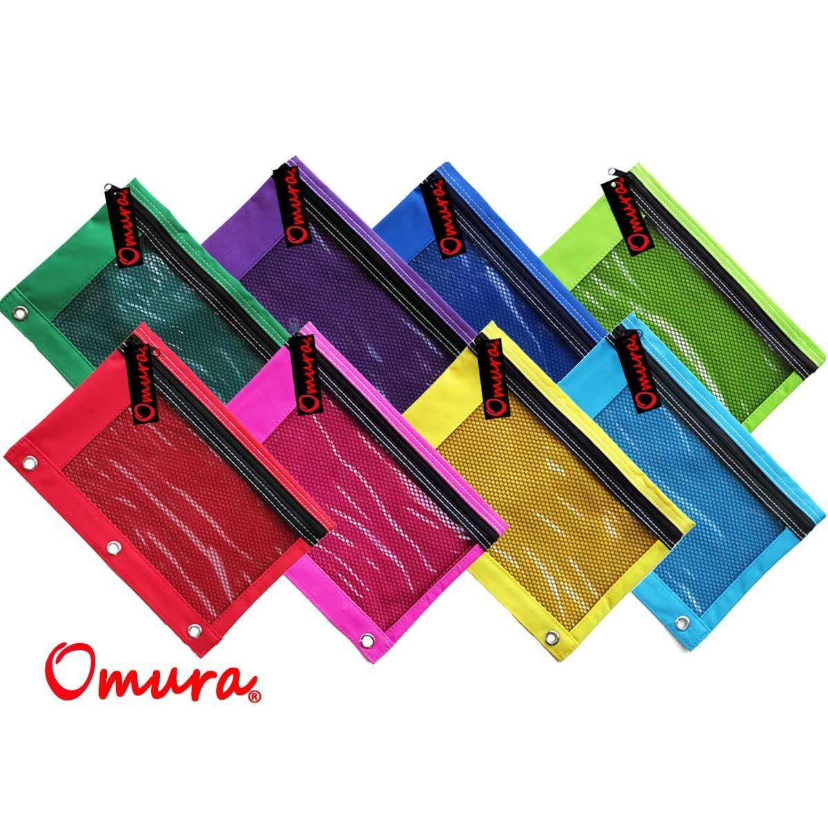 Omura Pencil Pouch, Mesh Windows, Zippered & Standard 3-Ring Binder ULTRA BRITE, Pack of 8 (OM-8034-ULTRA)