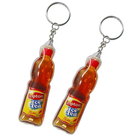 bottle shaped soft PVC keychain with liquid inside printed custom logo