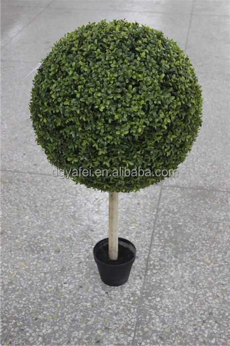 wooden pole artificial grass ball tree fake topiary bonsai tree with pot